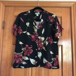 Tommy Bahama Hawaiian Top 100% Silk Black Sz L